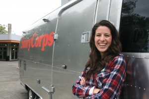Erika Romero '14 poses with the StoryCorps Mobile Tour.